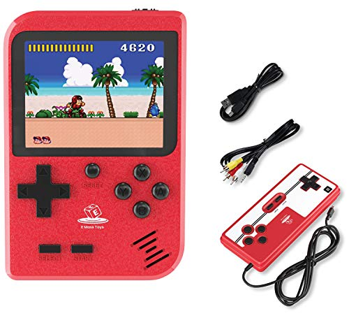 Emass Handheld Game Console, Retro Mini Game with 400 Classic FC Games- 2.8-Inch Color Screen Support for Connecting TV & Two Players 800mAh Rechargeable Battery Suitable for Kids & Adults