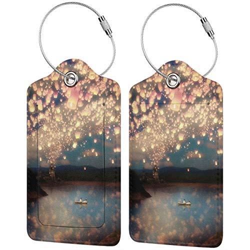 Gepäckanhänger, Wunschlaternen für Liebe, Leder, Koffer-Etiketten, Tasche, Reisegepäck-Tasche mit Sichtschutz, 2er-Set