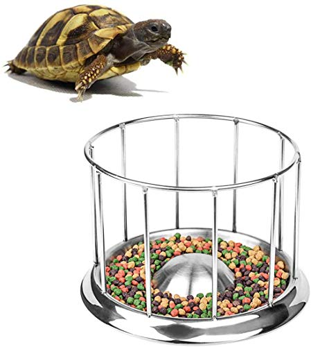 QCK Tortoise Food Water Dish Feeder Bowl Stainless Steel Tray Dispenser for Lizard Turtle Chameleon Reptiles,Multifunction Reptile Pet Supply Home for Water Dish (M)
