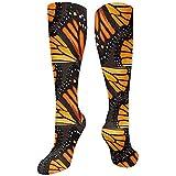 Dydan Tne Orange Monarch Butterfly Wings Crew Calcetines Largos Calcetines térmicos de Invierno