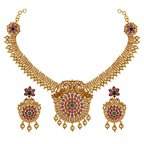 Aheli Beautifully Crafted South Indian Style Faux Stone Studded Peacock Design Crafted Pendant Necklace Set Ethnic Wedding Party Fashion Jewelry for Women