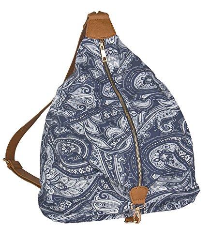 SIX Trend Blaue Damen Handtasche Beutel Rucksack Reißverschluss mit Paisly-Muster braune Details Triangel Form (463-116)