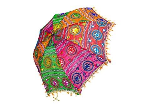 Indischer Sonnenschirm mit Stickereien - ca. 70cm