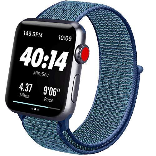 ATUP コンパチブル Apple Watch バンド 42mm 38mm 44mm 40mm、ナイロンスポーツループバンド、交換用ナイロン アップルウォッチリストバンド iWatch Series 5/4/3/2/1ベルトに対応 (05 ディープフォググレー, 42mm/44mm)