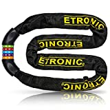 Etronic Bike Lock M10, Chain Cable Lock Tuff Links 4 Feet Long Security 5-Digit Resettable Combo Combination Lock Bicycle Lock Hardened Steel Tough Square Links Chain Lock