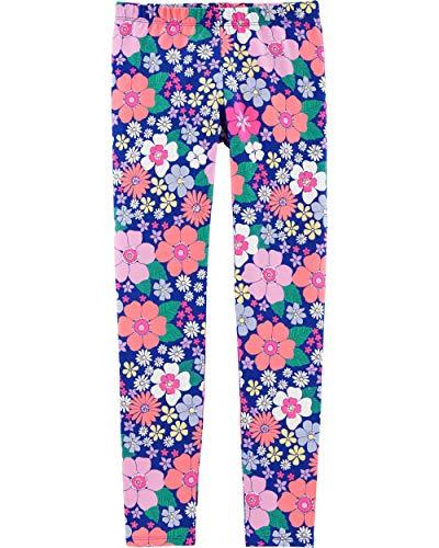 Osh Kosh Girls' Little Full Length Leggings, Blue Floral, 7
