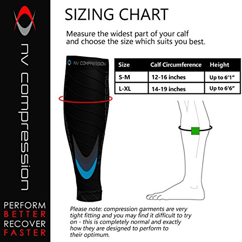 NV Compression Race and Recover Fußlose Kompressionsstrümpfe - Wadenstütze Kompression Compression Calf Sleeves - for Sports, Laufen, Radfahren, Triathlon, Crossfit, Gym, Tennis - 5