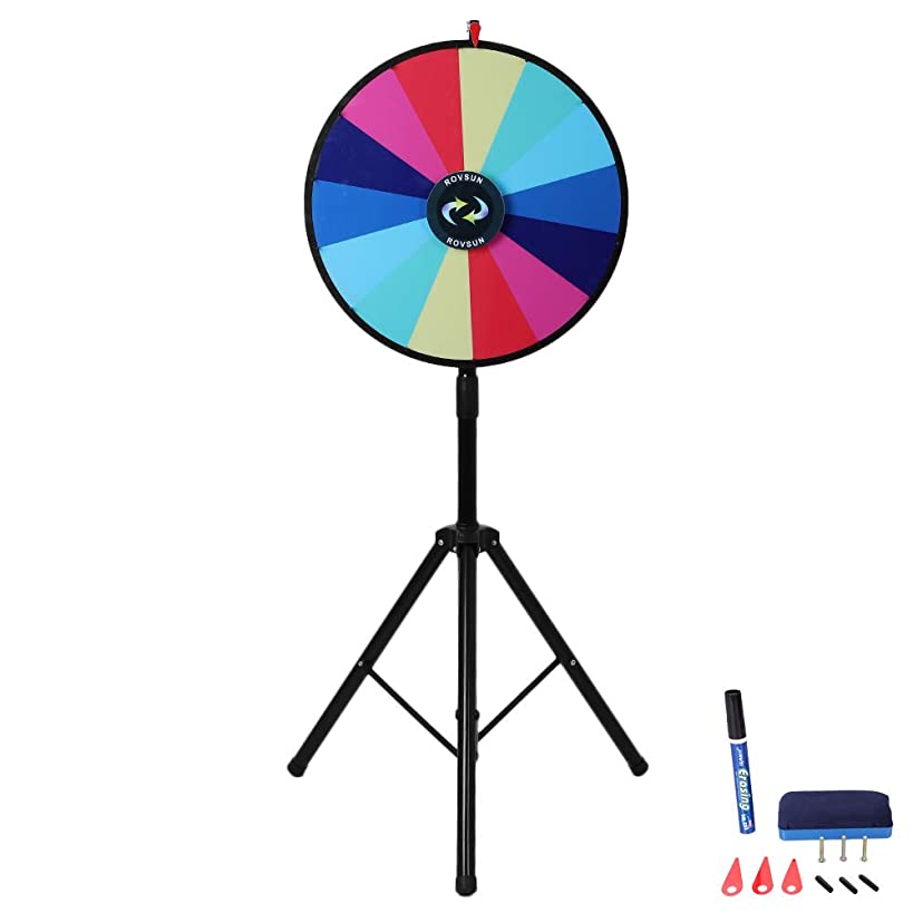 ROVSUN 24'' Spinning Prize Wheel w/Iron Folding Tripod Floor Stand,14 Color Slots Large Spinner Dry Erase Mark Pen Win Fortune Spin Game, for Trade Show Carnival Casino Party Market Classroom Raffle
