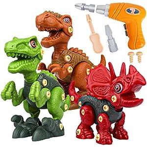 Vanplay Dinosaurios Juguetes con Taladro Eléctrico, Juego Construccion Puzzle Dinosaurios Incluyen Tiranosaurio Rex, Velociraptor y Triceratops para Niños y Niñas 3 Años