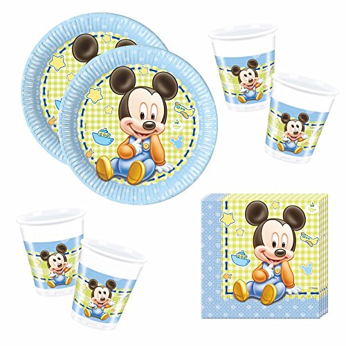 Mickey Mouse Set de Vaisselle Jetable Baby Assiettes Tasses Serviettes