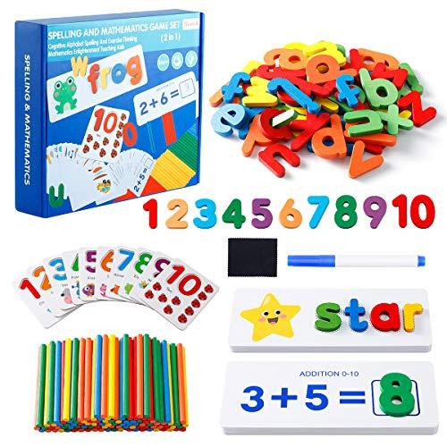 EXTSUD Letras y números de Madera Juguetes con 233 Pcs, Puzzle de Madera para Niños, Juguetes de Rompecabezas Alfabeto y Números para Niños Niñas 3 - 8 años