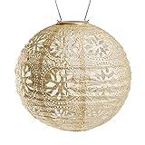 Allsop 31598 Soji Stella Market Handmade LED Outdoor Solar Lantern, 12X12, Pearl
