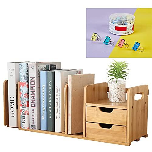 Catekro Bamboo - Organizador de escritorio con 2 cajones, organizador de escritorio y accesorios, 6 niveles, mesa de madera duradera para bolígrafos, papelería, documentos y material de oficina