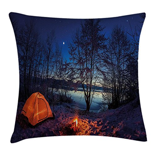 Camper Kussen Kussen Kussen Cover door, Verlichte Tent in Winter Camp 's Nachts Natuur Exploratie Trekking Image, Decoratieve Vierkant Accent Kussen Case, 18 X 18 Inch, Blauw Oranje Plum