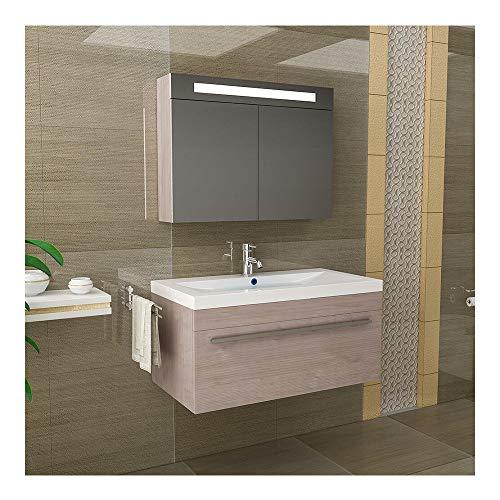 Alpenberger Moderne badkamermeubelset, wastafel van gegoten mineraal met overloop, wastafelmeubel met softclose-functie, bruin, wastafel, badkamermeubel 2-delig voor uw gastentoilet of badkamer