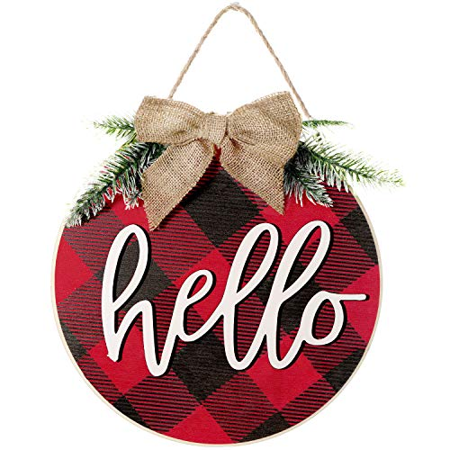 Christmas wooden Hello Sign Buffalo Plaid Hello Rustic Front Door Decor Rustic Farmhouse Porch Decoration Wooden Hanging Sign for Home, Christmas, Outdoor