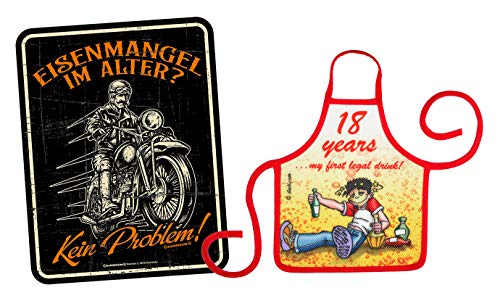 Mega-shirt geschenk set voor de 18e verjaardag metalen bord met kleine schort set ijzeren gebrek aan leeftijd Geen probleem & 18 jaar 239 jaar