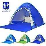Elover Tente de Plage Pop Up Tente Automatique Abris de Plage Portatif Extérieur pour 2-3 Personnes Tente Anti UV pour Plage Camping Jardin Pêche Pique-Nique (Bleu Foncé)