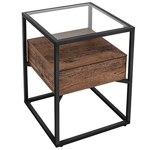 VASAGLE Nachttisch, Beistelltisch, Nachtkommode, Glastisch mit Schublade, Sofatisch, Lounge, Foyer, stabil, Industrie Design, haselnussbraun-schwarz LET004G01