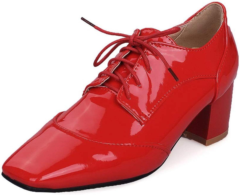 AmoonyFashion Women's Microfiber Kitten-Heels Lace-Up Pumps-shoes, BUSDT001251