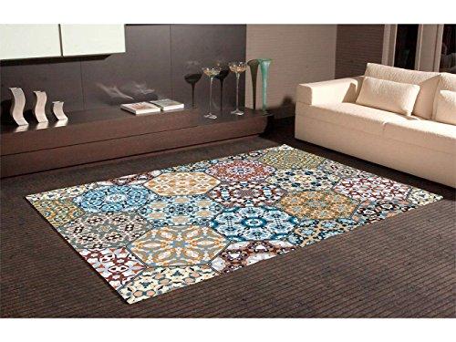 Oedim Alfombra Hexagonos Multicolor PVC | 95 cm x 165 cm | Moqueta PVC | Suelo vinilico | Decoración del Hogar