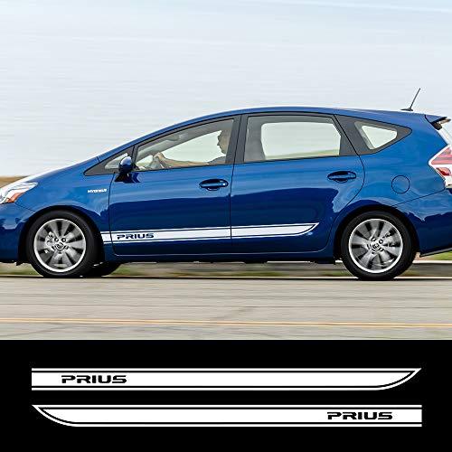 ZYHZJC 2 StückVinyl Auto Aufkleber Auto Lange SeitenstreifenAutotürDIY AbziehbilderSportgrafikenTuning Car Styling für Toyota Prius