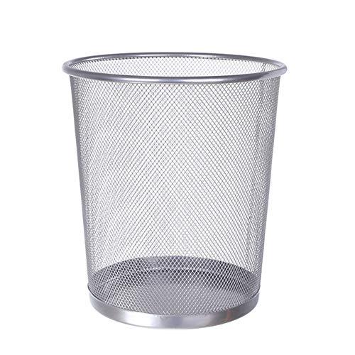 Chichengnian Cubo de basura de malla circular de metal, cesta de basura de papel de desecho, cubo de almacenamiento de cocina para el hogar y la oficina, cubo de basura (plata, pequeño)