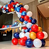 RC&Z Red Blue White Balloon Garland Arch Kit - 116 DIY Pearl Matte Metallic Balloons for Baby Showers, Weddings, Graduations, Corporate Event, Birthday Party Backdrop Background Decorations Supplies