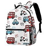 Mochila de viaje casual con patrón de autobús y coche, mochila de viaje para mujeres, adolescentes, niñas y niños