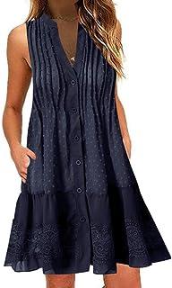 Dubocu Women Dress V-Neck Button Up Sleeveless Tank Top Solid Color Bohemian Summer Loose Casual Flowy Short Mini Dress Sundress Skirt