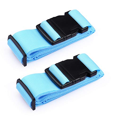 iToobe 2 Pcs Luggage Straps Adjustable 200cm Suitcase Straps Belts Travel Packing Belt Heavy Duty Security Rainbow Straps with Buckle Closure and Name Tag Slot Luggage Tag (Blue)