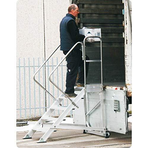 Disset Odiseo PDL2155 Escalera con plataforma Tucano con Barandilla Frontal y Borde de Seguridad para Los Pies, 2x600 mm Peldaños, 150 Kg Carga, 900 mm x 423mm x 1158mm
