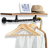 31-Inch Industrial-Style Black Metal Pipe & Brown Wood Wall Mounted Clothing Rods Storage ...