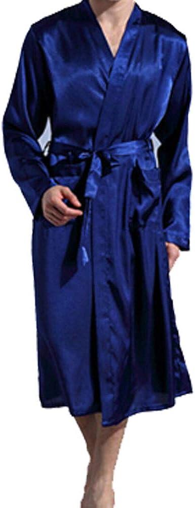 Long Sleeved Robe for Both Men Women Lose Kimono Robe Bathrobe Sleepwear Nightgown with Waist Belt Blue