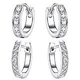 Kesaplan 2 Pairs Hoop Earrings Made of Swarovski Crystals, Huggies Earrings Set Platinum Plated Earrings for Women Girls Cute Small Hoop Earrings