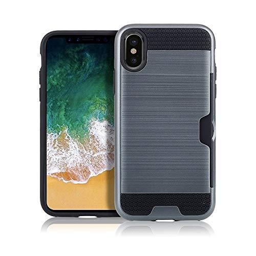 H-HX telefoonhoes beschermhoes, telefoonhoesje, ultradunne TPU + PC geborsteld textuur stootvaste beschermhoes met kaartsleuf voor iPhone X/XS (zwart), donkerblauw
