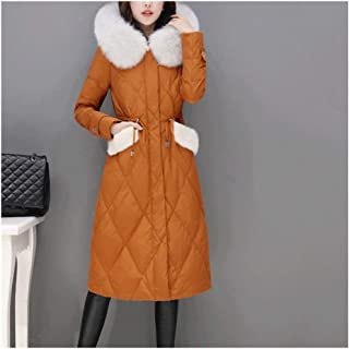 Women's Outdoor Down Jackets Large Fur Collar Waist Down Jacket Long Section Over The Knee Slim Thick Warm Winter Jacket (Color : Orange, Size : M)