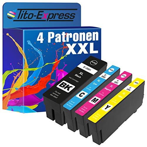 Tito-Express PlatinumSerie 4 Tintenpatronen XXL kompatibel mit Epson T3591 T3592 T3593 T3594 35 XL Workforce Pro WF 4700 4720DWF 4720 4725DWF 4730DTWF 4735DTWF 4740DTWF