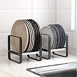 Baffect Paquete de 2 rejillas para platos de metal, rejilla para escurrir platos, rejilla para secar platos negros, soporte para rejilla para sartenes para cocina, armario, organizador, plato