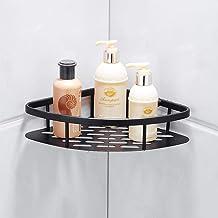 Zwarte punch-vrije badkamer plank, ruimte aluminium wandmontage driehoek mand, badkamer ijdelheid opbergrek, hoekframe-1 v...