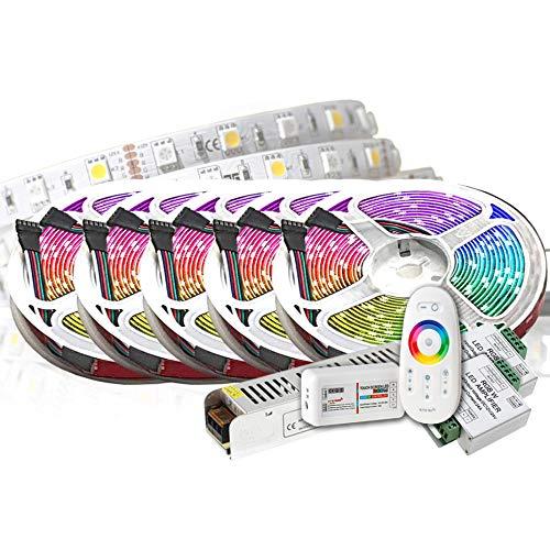 25M PREMIUM 24V RGB+WW RGBW LED Streifen LED Band LED Strip 5050 SMD RGB+Warmweiss LED Lichtleiste 1500LEDs 60LED\'s/M+controll mit RF TOUCH Fernbedienung +24v 12.5A 300W Netzteil ULTRA SLIM TRAFO
