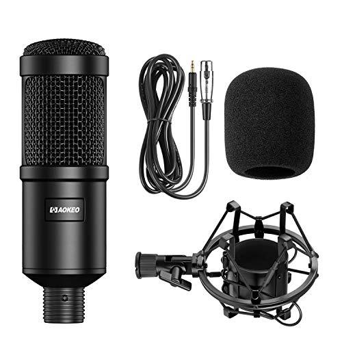 Aokeo AK-60 Professional Condenser Microphone, Music Studio MIC Podcast Gravação Microfone Kit com suporte suporte suporte suporte suporte suporte para PC Laptop Transmissão de computador YouTube Vlogging Skype Chatting Gaming