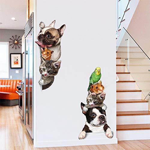 PISKLIU Muursticker, voor honden, katten, muis, vogel, 3D, muursticker, deur, grappig, raamdecoratie, stickers voor meubels en muren, dieren, vinyl