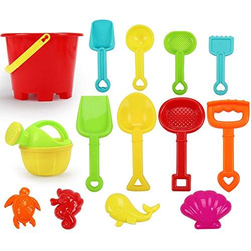 14Pcs Beach Sand Toys Set Bucket Marine Animals Beach Toy Kit Shovel Rake Watering Can Tool Kit Durable Plastic Sand Mold BPA Free Sandbox Toys Best Gifts for Toddlers Kids Children