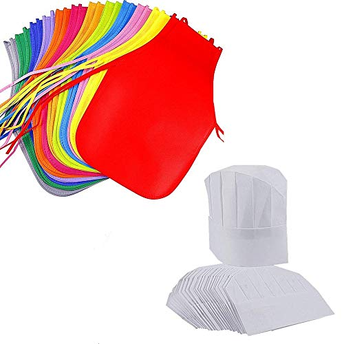 AIVS 24 Pieces Children's Artists Fabric Aprons & Chef Hats for Kitchen, Classroom, Community Event, Crafts and Art Painting Activity,Kid's Size(M 2-12 Year)