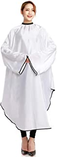 Salon Professional Hair Cutting Cape Waterproof Barber Cape for Men Women Kids Adults Barber cape Unisex with Elastic Neck and Sleeves 57.5x51.2in,White