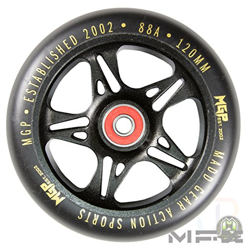 Madd Gear MFX Sicherung Core 120 mm Metal Core Scooter Wheels – Schwarz/Gold (Paar)