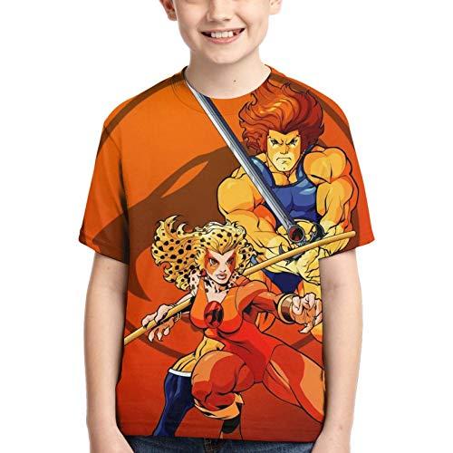 Thundercats - Camiseta de manga corta para niños, cuello redondo, plegable, cuello redondo, camisetas de moda