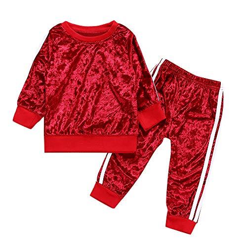 Kobay Kleinkind Kinder Baby Mädchen Jungen Langarm Solide Tops + Hosen Outfits Set Kleidung(18-24M,Rot)