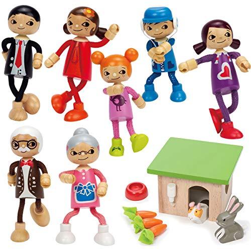 Hape Biegelpuppenfamilie Set fürs Puppenhaus + Haustierset